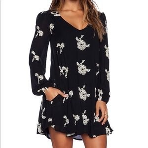 Free people black and white flower flowy dress.